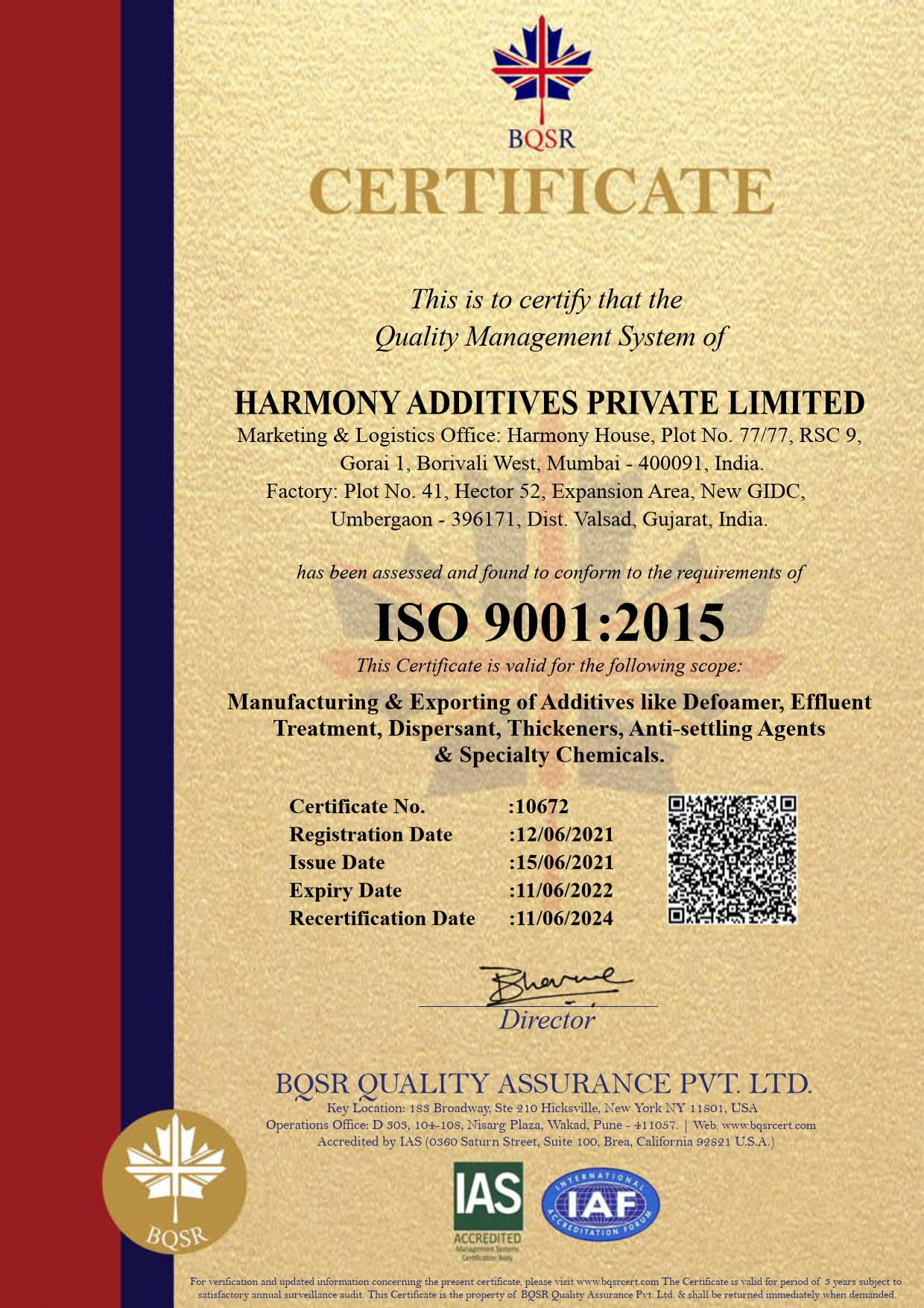 Harmony Additives ISO Certificate